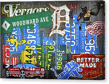 Detroit The Motor City Michigan License Plate Art Collage Canvas Print