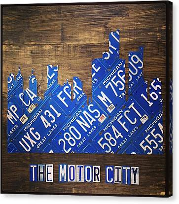 #detroit #themotorcity #michigan #city Canvas Print by Design Turnpike