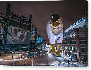 Father Time Canvas Print - Detroit Tigers At  Comerica Park by Nicholas  Grunas