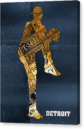 Detroit Tigers Canvas Print - Detroit Tigers Baseball Pitcher Player Recycled Michigan License Plate Art by Design Turnpike