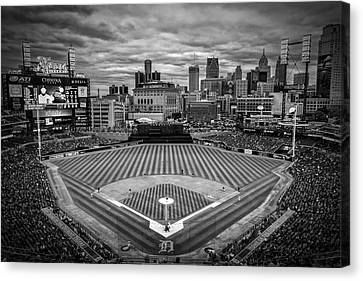 Detroit Tigers Comerica Park Bw 4837 Canvas Print by David Haskett