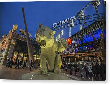 Detroit Tigers Comerica Park Front Gate Tiger Canvas Print by David Haskett