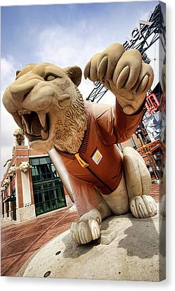 Detroit Tigers Tiger Statue Outside Of Comerica Park Detroit Michigan Canvas Print