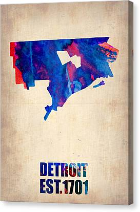 World Map Canvas Print - Detroit Watercolor Map by Naxart Studio