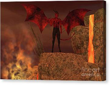 Devil Creature In Hell Canvas Print by Corey Ford