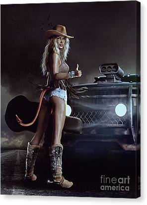Blonde Canvas Print - Devil In Blue Jeans by Shanina Conway