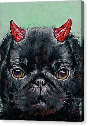 Devil Pug Canvas Print by Michael Creese