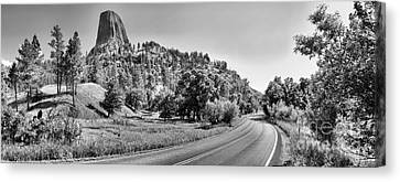 Devils Tower Road Panorama - Black And White Canvas Print by Adam Jewell