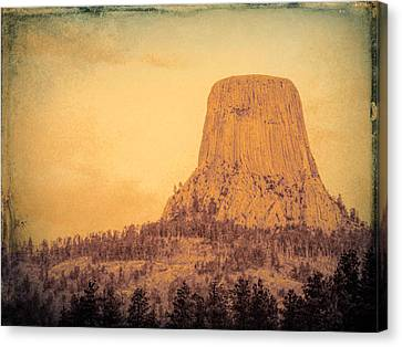 Devils Tower Vintage Canvas Print by Cathy Anderson