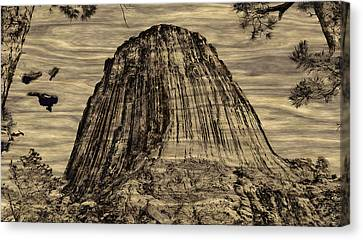 Devils Tower Woodburning Canvas Print by John M Bailey