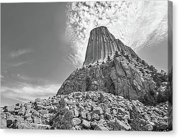 Devil's Tower, Wyoming, Black And White Canvas Print by Jim Hughes