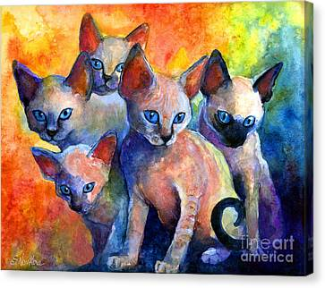 Watercolor Pet Portraits Canvas Print - Devon Rex Kitten Cats by Svetlana Novikova