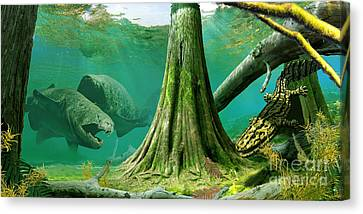 Devonian Mural Canvas Print by Julius Csotonyi