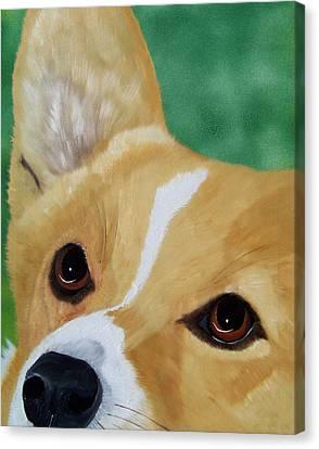 Devotion-corgi Eyes Of Love Canvas Print by Debbie LaFrance