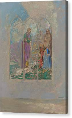 Devotion Near A Red Bush  Canvas Print