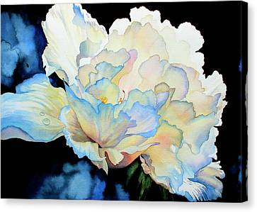 Black Artist Canvas Print - Dew Drops On Peony by Hanne Lore Koehler