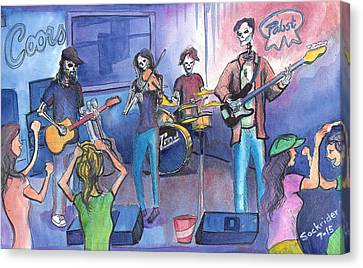 Canvas Print featuring the painting Dewey Paul Band by David Sockrider