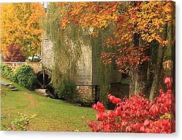 Dexter Grist Mill Autumn Cape Cod Canvas Print by John Burk