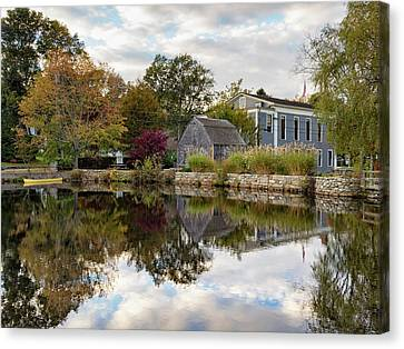 Dexter Grist Mill Reflections Canvas Print by Marianne Campolongo