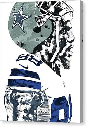 Canvas Print featuring the mixed media Dez Bryant Dallas Cowboys Pixel Art 4 by Joe Hamilton