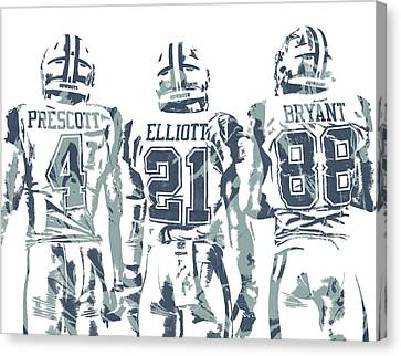 Prescott Canvas Print - Dez Bryant Ezekiel Elliott Dak Prescott Dallas Cowboys Pixel Art by Joe Hamilton