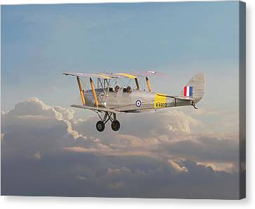 Canvas Print featuring the digital art Dh Tiger Moth - 'first Steps' by Pat Speirs