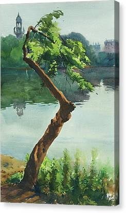 Canvas Print featuring the painting Dhanmondi Lake 03 by Helal Uddin