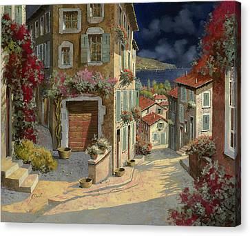 Di Notte Al Mare Canvas Print by Guido Borelli