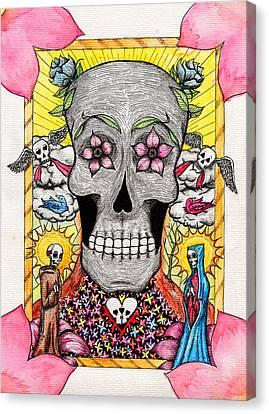 Canvas Print featuring the painting Dia De Los Muertos by Josean Rivera