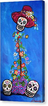 Canvas Print featuring the painting Dia De Los Muertos by Pristine Cartera Turkus