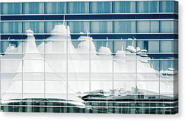 Canvas Print featuring the photograph Dia Hotel Reflection by Joe Bonita
