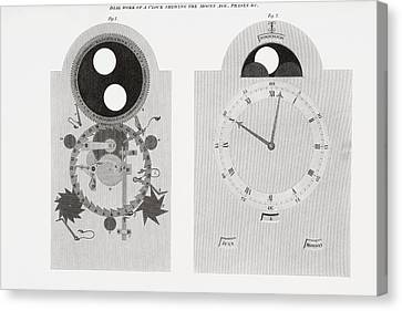 Dial Work Of A Clock Showing Moon S Canvas Print