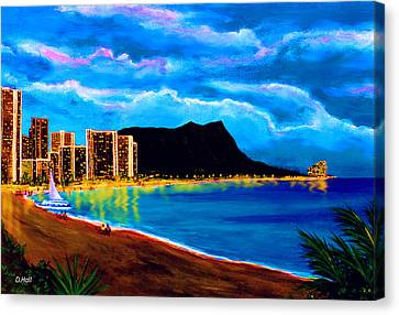 Diamond Head And Waikiki Beach By Night #92 Canvas Print by Donald k Hall