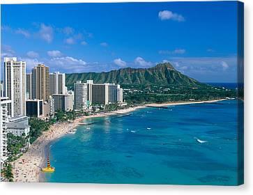 Diamond Head And Waikiki Canvas Print by William Waterfall - Printscapes