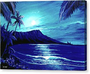 Diamond Head Moon #123 Canvas Print by Donald k Hall