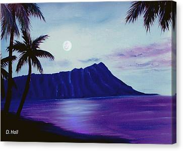 Diamond Head Moon Waikiki #34 Canvas Print by Donald k Hall