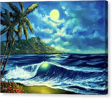 Diamond Head Moon Waikiki Beach #407 Canvas Print by Donald k Hall