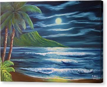 Diamond Head Moon Waikiki Beach  #409 Canvas Print by Donald k Hall