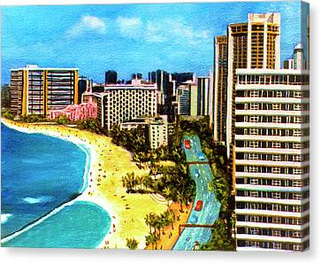 Diamond Head Waikiki Beach Kalakaua Avenue #94 Canvas Print by Donald k Hall