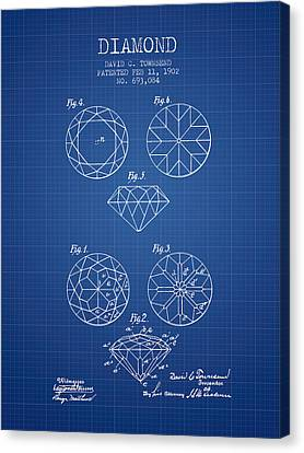 Diamond Patent From 1902 - Blueprint Canvas Print by Aged Pixel