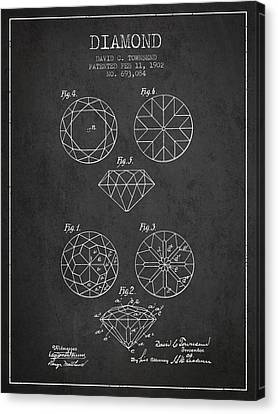 Diamond Patent From 1902 - Charcoal Canvas Print by Aged Pixel