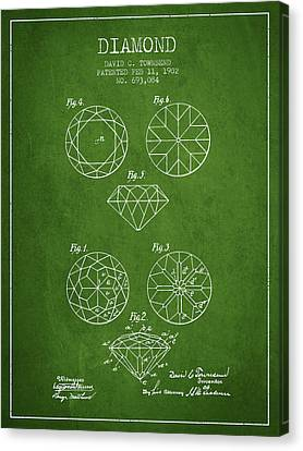 Diamond Patent From 1902 - Green Canvas Print by Aged Pixel