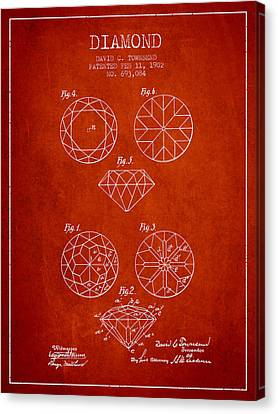 Diamond Patent From 1902 - Red Canvas Print by Aged Pixel