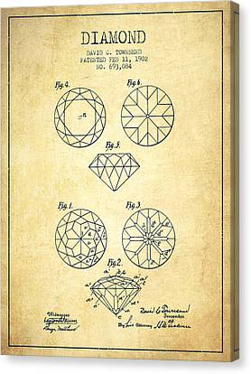 Diamond Patent From 1902 - Vintage Canvas Print by Aged Pixel