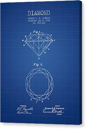 Diamond Patent From 1906 - Blueprint Canvas Print by Aged Pixel