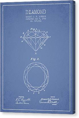 Diamond Patent From 1906 - Light Blue Canvas Print by Aged Pixel