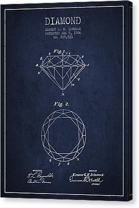 Diamond Patent From 1906 - Navy Blue Canvas Print by Aged Pixel