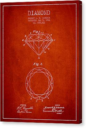 Diamond Patent From 1906 - Red Canvas Print by Aged Pixel