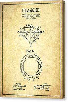 Diamond Patent From 1906 - Vintage Canvas Print by Aged Pixel