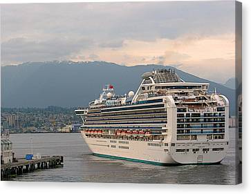 Ports Canvas Print - Diamond Princess Leaving Vancouver British Columbia Canada by Christine Till